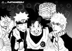Happy Birthday!! (Goku, Luffy, Naruto and Ichigo) by PLATINUMBROLY