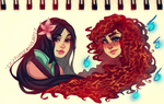 Mulan and Merida: Concept Art by FROZENVIOLINIST