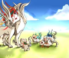 Amaterasu with her children by clgtart