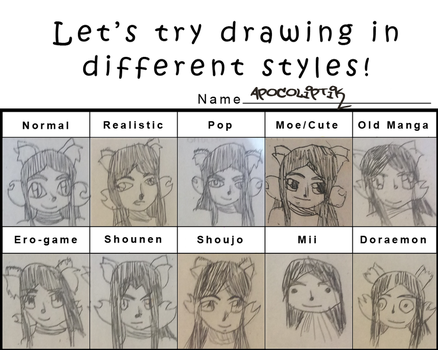 Lets Try Drawing In Styles Apocoliptik Edition by Chibifangirl01
