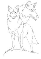 Wolf Lineart by AkaneCeles