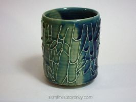 Blue Green Bamboo Cup by skimlines
