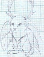 Another Winged Jackalope by MidnightHuntingWolf