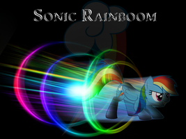 Rainbow Dash Sonic Rainboom Wallpaper by PinkiePizzles
