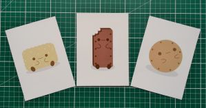Set of 3 cute vector biscuit prints by Knuckers-Hollow