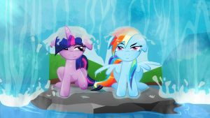 Twilight and Dashie ~The Waterfall non Font by Rariedash
