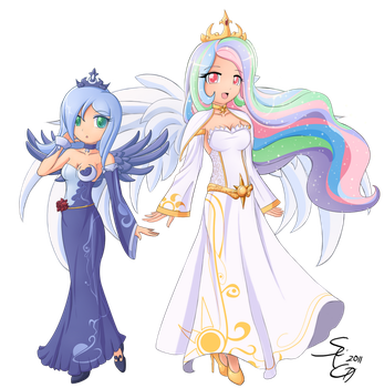 Luna and Celestia combo. by AngriestAngryArtist