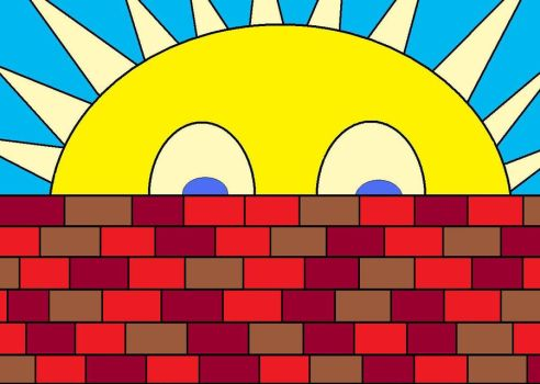 sunarise over brick wall by BooGoose