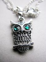 SOLD - Owl Charm Necklace by crystaland