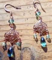 Rose Gold and Green Earrings by OdinsBeadHall