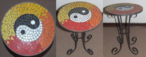 Ying-Yang wrought iron mosaic table by EleonoraIlieva