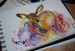Deer watercolor by bezag