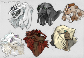 Various Talyxian-Stalkers head designs by mick39