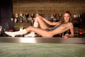 naked schoolgirl on a bar by Spot25
