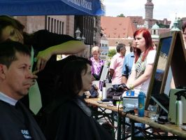 Public Haircutting before Lorenz church by andersvolker