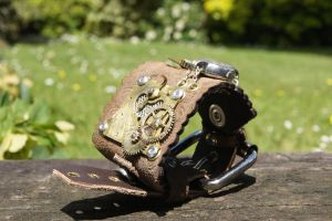 Steampunk Wrist Cuff by flamingcog