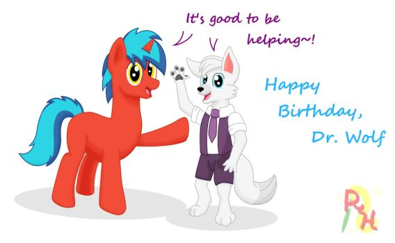 Happy B-Day, Dr Wolf [Gift] by RedHoofsketch