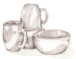 Cups and Bowls- Still Life by CaptainMorwen