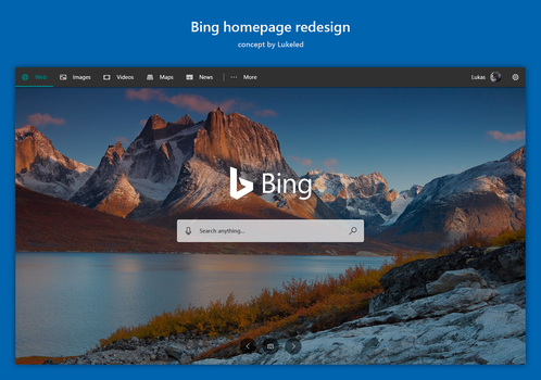 Bing homepage redesign by lukeled