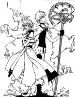 Syaoran and Sakura sketch:pen: by SojiOkage