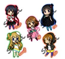 K-On Keychains by MulberryDreamer