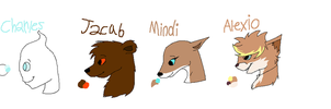 Charles, Jacub, Mindi, and Alexio ref sheets by Helkie-three