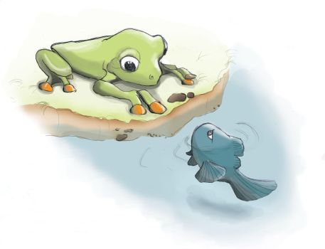 The Frog and the Fish by Cajyin