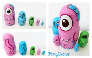 Monster Russian Dolls set of 5 by ponychops