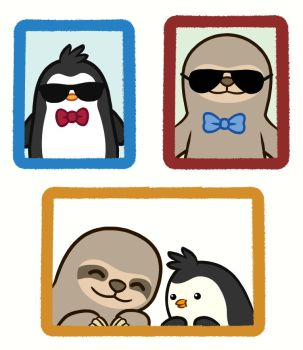 Slothy and Pengy 'Kool Kids' Portrait: BFF edition by liquidcrow