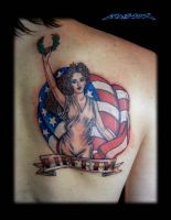 Liberty Classic Pin Up Tattoo by MuddyGreen