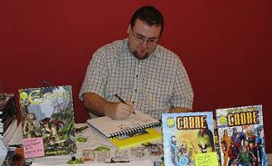 Mat Nastos sketching at a Con by ElfSong-Mat