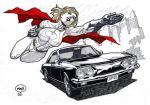 Power Girl Races with a Corvair by pipin
