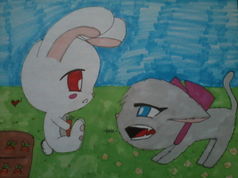 Bunny and Kitty by HopeandStruggle