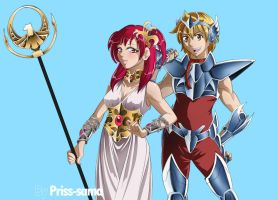 Athena Morgiana and Pegasus Alibaba by Priss-BloodEmpress