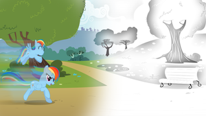 Returning Color to Equestria (White World Effect) by DigiRadiance