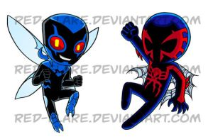 Commission: Blue Beetle and Spider-man 2099 by Red-Flare