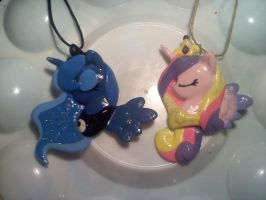 Princess Luna and Cadence Necklaces by ParfaitPichu