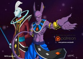 Lord Beerus and Whiz  Patreon Reward 2 for March by JazylH