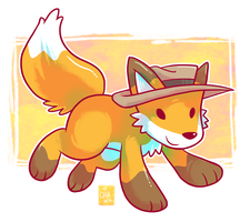 Commission - Fedora Fox by raizy