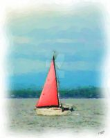 Boat With Red Sail by LManuel47
