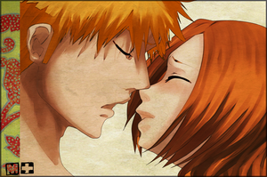 IchiHime kiss by M-i-S-T-I-K-A