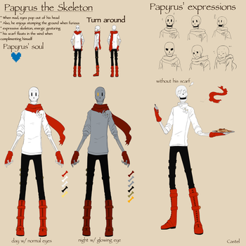 Papyrus the Skeleton | Ref sheet by Castel-Eown