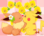 Eevee and  Pikachu by jirachicute28