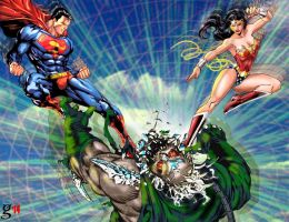 Superman and Wonder Woman against Doomsday by godstaff