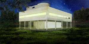 Villa Savoye Night (Digital Watercolor) by ryoarrendio