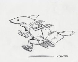 Land Shark Hurried Commute by RobtheDoodler