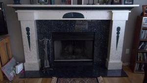 Deco-esque  fireplace surround and mantle. by yippee5000