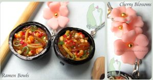 Polymer Clay Ramen Bowls and Cherry Blossoms by Talty