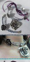 Silver Rose Choker and Bracelet by Windthin