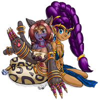 Beastmon and Shantae by blademanunitpi